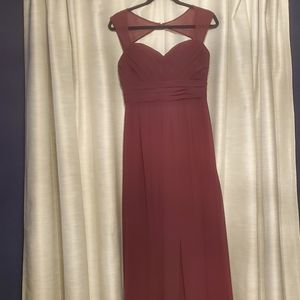 Plum colored long prom gown/ bridesmaid
